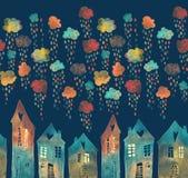 Naadloos patroon met een stad onder de regenachtige wolken vector illustratie
