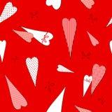 Naadloos patroon met een tekening van krabbelsharten op Decoratieve romantische achtergrond van de erwten de gestreepte kooi voor vector illustratie