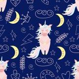 Naadloos patroon met eenhoorn bij nacht vectorillustratie, eps royalty-vrije illustratie