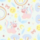 Naadloos patroon met eenhoorn en regenboog - vectorillustratie, eps royalty-vrije illustratie