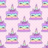 Naadloos patroon met eenhoorncake, op roze stipachtergrond vector illustratie