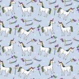 Naadloos patroon met eenhoorns en toverstokjes Royalty-vrije Stock Afbeeldingen