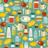 Naadloos patroon met eenvoudig voedsel. Stock Afbeeldingen