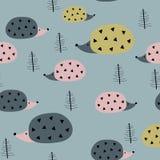 Naadloos patroon met egels stock illustratie