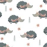 Naadloos patroon met egels in hoed royalty-vrije illustratie