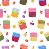 Naadloos patroon met eigengemaakte jam en vruchten stock illustratie