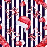 Naadloos patroon met elementen rode hoed, sjaal, vuisthandschoenen stock fotografie