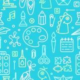 Naadloos patroon met elementen voor jonge geitjes creatieve lessen stock illustratie