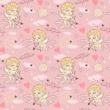 Naadloos patroon met engelen en cupido's de Dag van Valentine ` s Royalty-vrije Stock Afbeelding