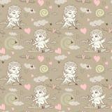 Naadloos patroon met engelen en cupido's de Dag van Valentine ` s stock illustratie