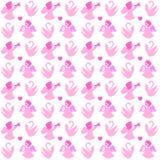 Naadloos patroon met engelen en zwanen stock illustratie