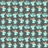 Naadloos patroon met engelen op grijs vector illustratie