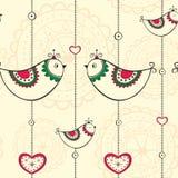 Naadloos patroon met etnische decoratie met vogels Stock Afbeelding