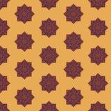 Naadloos patroon met etnische rozetten op een zandachtergrond vector illustratie