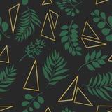 In naadloos patroon met exotische bladeren en gouden driehoeken stock illustratie