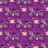 Naadloos patroon met fiets Stock Foto's