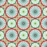 Naadloos patroon met fietswielen Fietswielen met gekleurde randen en spokes royalty-vrije illustratie