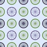 Naadloos patroon met fietswielen Fietswielen met gekleurde randen en spokes Stock Afbeeldingen