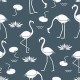 Naadloos patroon met flamingo, bloemen en bladerenwaterlelies Ontwerp voor affiche of druk vector illustratie