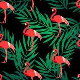 Naadloos patroon met flamingo en groene palmtakken Ornament voor textiel en het verpakken Vector de zomerachtergrond Royalty-vrije Stock Afbeelding