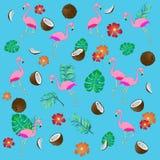 Naadloos patroon met flamingo en tropische bladeren vector illustratie
