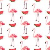 Naadloos patroon met flamingo's en watermeloenen Royalty-vrije Stock Fotografie