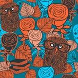 Naadloos patroon met flora en fauna Stock Afbeelding