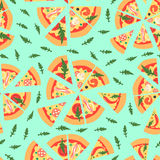 Naadloos patroon met geassorteerde pizzaplakken Vector illustratie Het herhalen van achtergrond Stock Fotografie