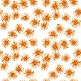 Naadloos patroon met geeloranje madeliefjes stock afbeelding