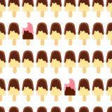 Naadloos patroon met gehele en gebeten banaanijslolly Chocolade en frambozensuikerglazuur Royalty-vrije Stock Afbeelding