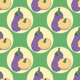 Naadloos patroon met gekleurde aubergine en struikpompoen op groene achtergrond royalty-vrije illustratie