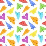 Naadloos patroon met gekleurde document vliegtuigen Stock Afbeelding