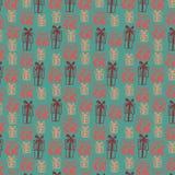Naadloos patroon met gekleurde giftdozen op groene achtergrond royalty-vrije illustratie