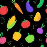 Naadloos patroon met gekleurde groenten op zwarte royalty-vrije illustratie