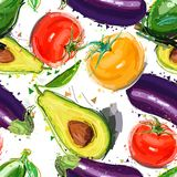 Naadloos patroon met gekleurde groenten Vector illustratie voor uw zoet water design royalty-vrije illustratie