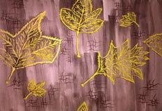 Naadloos patroon met gele bladeren op de bruine achtergrond Met de hand gemaakte tekening Royalty-vrije Stock Fotografie
