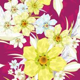 Naadloos patroon met gele bloemen. Stock Afbeeldingen
