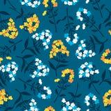 Naadloos patroon met gele bloemen van flox in blauw, royalty-vrije illustratie