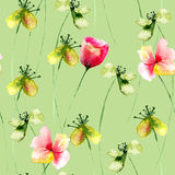 Naadloos patroon met Gele en Rode bloemen Stock Foto's