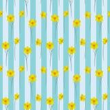 Naadloos patroon met gele gele narcissen op een gestreepte achtergrond Royalty-vrije Stock Afbeeldingen