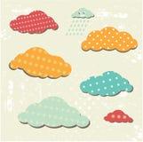 Naadloos patroon met gelukkige wolk Royalty-vrije Stock Afbeelding