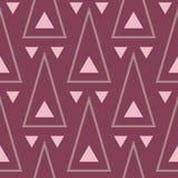 Naadloos patroon met geometrische elementen Donkerrode achtergrond Stock Fotografie