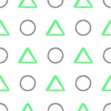 Naadloos patroon met geometrische vormen Met de hand getrokken cirkels en driehoeken Royalty-vrije Stock Foto's