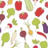 Naadloos patroon met geschetste groenten Stock Foto