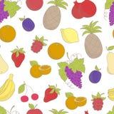 Naadloos patroon met geschetste vruchten Stock Foto's