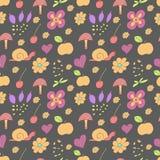 Naadloos patroon met geschilderde bloemen, slakken Royalty-vrije Stock Afbeeldingen