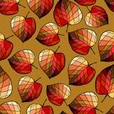 Naadloos patroon met gestileerde bladeren Stock Afbeelding