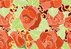 Naadloos patroon met Gestileerde bloemen Etnische achtergrond Stock Afbeelding