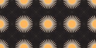 Naadloos Patroon met Gestileerde Daisy Fowers en Witte Lijnen op Zwarte Achtergrond Stock Afbeeldingen