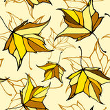 Naadloos patroon met gestileerde dalende bladeren Stock Foto's